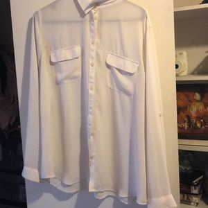 Long-sleeve sheer white button-down